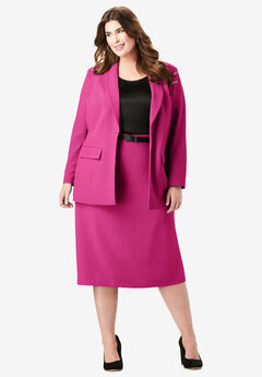 Single-Breasted Skirt Suit, TROPICAL RASPBERRY