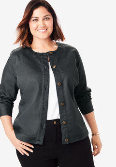 Collarless Denim Jacket, BLACK