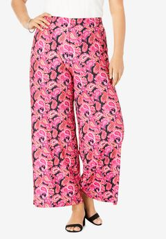 Travel Knit Wide Leg Pants, BLACK GRAPHIC PAISLEY