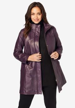 A-Line Zip Front Leather Jacket, DARK BERRY