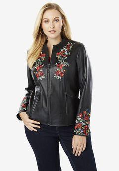 Embellished Leather Jacket, MULTI FLOWER EMBROIDERY