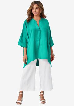 Hi-Low Linen Tunic, AQUA SEA