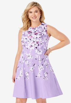 Fit & Flare Dress, BRIGHT LILAC ROSETTE