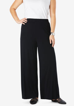 Everyday Knit Palazzo Pants, BLACK
