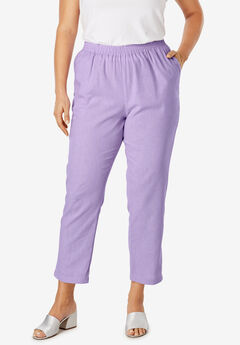 Linen Ankle Pant, BRIGHT LILAC
