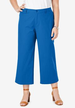 Wide Leg Poplin Crop, COBALT BLUE