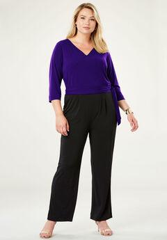 Travel Knit Colorblock Jumpsuit, DEEP GRAPE BLACK