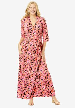Faux Wrap Maxi Dress, BLACK GRAPHIC PAISLEY
