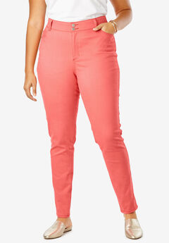 JL Sculpt Denim Skinny Ankle Jean, SUNSET CORAL