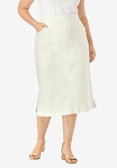 Comfort Waist Midi Skirt, IVORY