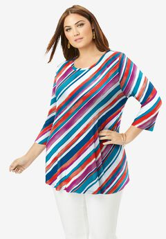 Swing Tunic, MULTI BIAS STRIPE