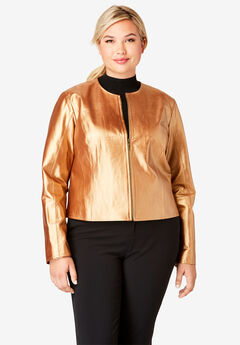 Collarless Leather Jacket, DARK BRONZE PEARLIZED