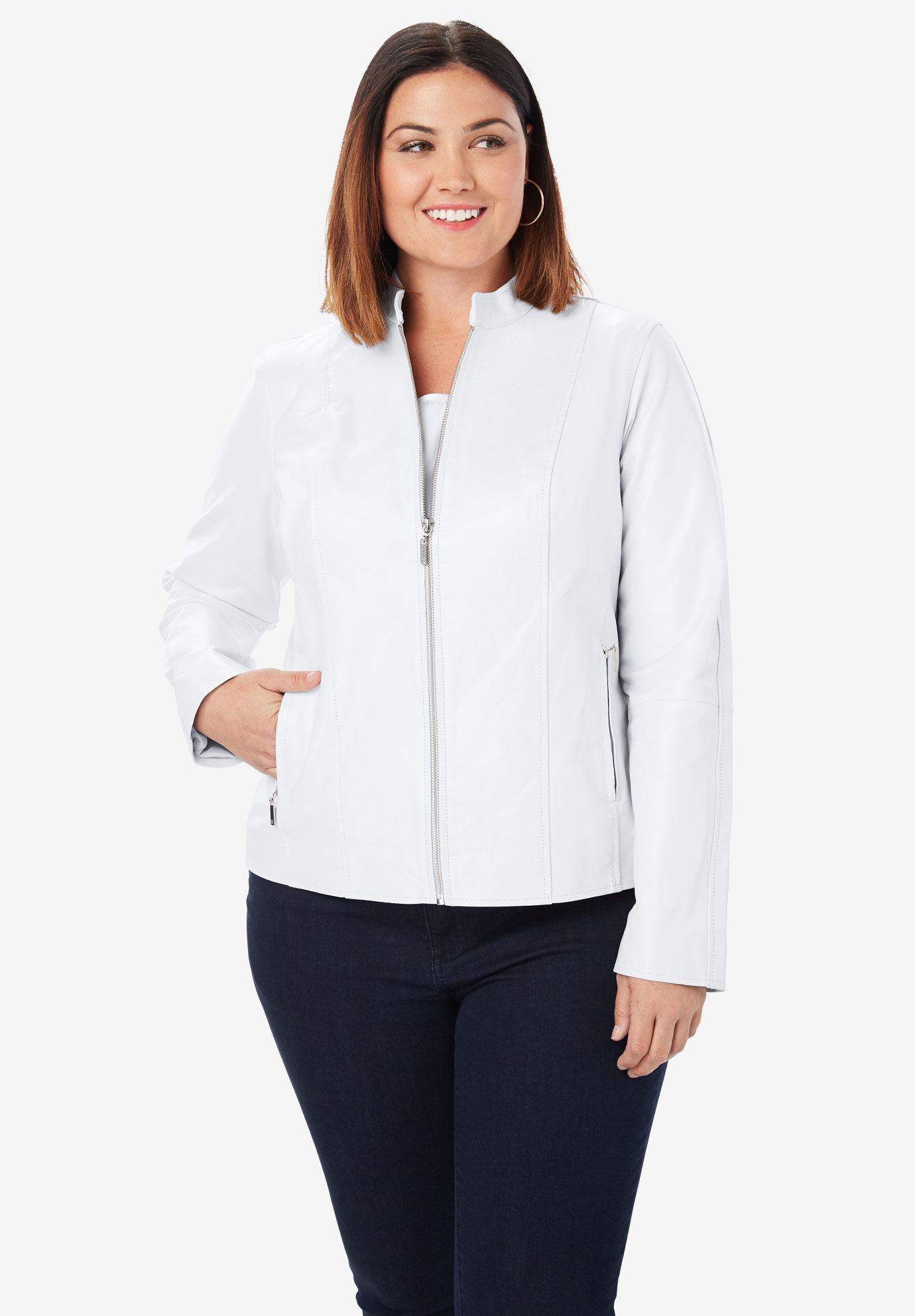 Woman Within Womens Plus Size Zip Front Tunic Hoodie