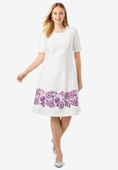 Ponté Knit Elbow Dress with Scoop Neckline, PLUM PURPLE LACE BORDER