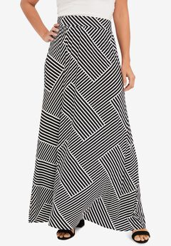 Everyday Knit Maxi Skirt, BLACK BIAS STRIPE
