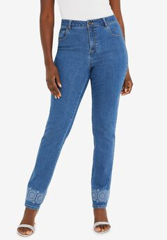 True Fit Straight Leg Jeans, MEDALLION EMBROIDERY