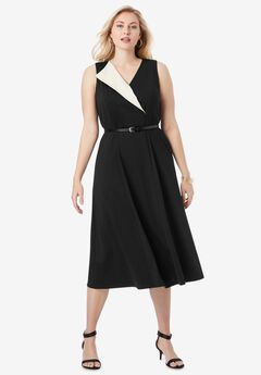 Belted Fit & Flare Dress, BLACK IVORY