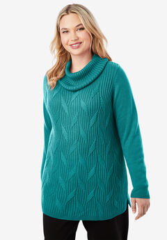 Cotton Cashmere Cowl Neck Sweater, GEMSTONE GREEN