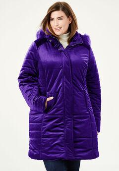 Velvet Puffer Coat, DEEP GRAPE