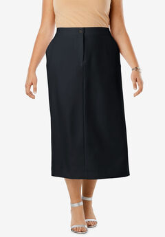 Tummy Control Bi-Stretch Midi Skirt, BLACK