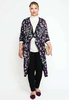 Jacquard Sweater Duster, TRUE GRAPE ANIMAL JACQUARD