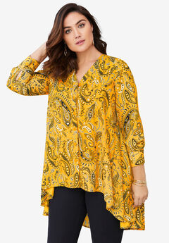 Hi-Low Georgette Tunic, SUNSET YELLOW PAISLEY
