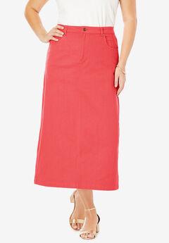 Classic Cotton Denim Long Skirt, SOFT GERANIUM