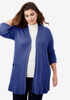 Rib Cardigan Sweater, ULTRA BLUE