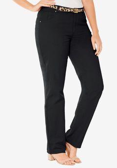 Classic Cotton Denim Straight Jeans, BLACK