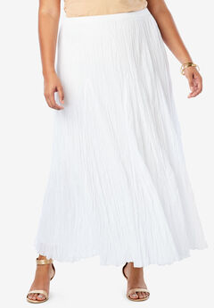 Cotton Crinkled Maxi Skirt, WHITE