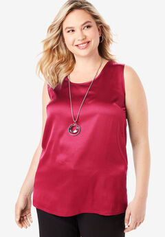 Sleeveless Satin Blouse, CLASSIC RED