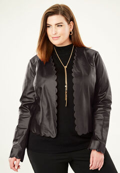 Scalloped Leather Jacket, BLACK