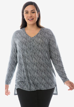 Hi-Low Popover Tunic, GUNMETAL STRIPE