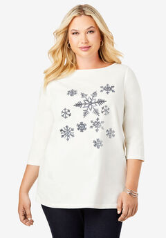Holiday Print Tunic, SEQUIN SNOWFLAKES