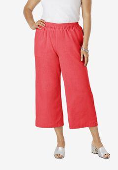 Wide Leg Linen Crop Pant, SOFT GERANIUM