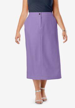 Tummy Control Bi-Stretch Midi Skirt, VINTAGE LAVENDER