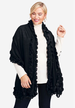 Faux Fur Trim Wrap, BLACK
