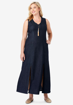 Denim A-Line Maxi Dress, INDIGO