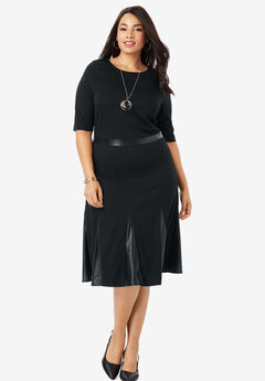 Ponte Fit & Flare Dress, BLACK