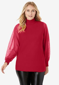 Blouson Sleeve Mockneck Sweater,