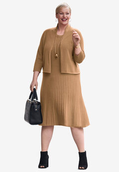 Sweater Jacket Dress, BROWN MAPLE