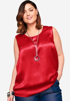 Sleeveless Satin Blouse, HOT RED