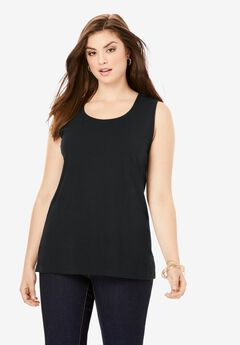 Horseshoe Neck Tank, BLACK