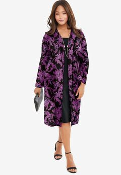 Ponte Jacket Dress, RASPBERRY ETCHED PAISLEY