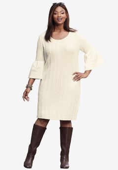 Bell Sleeve Cable Sweater Dress,