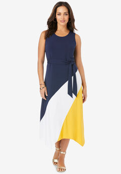 Asymmetric Side-Tie Midi Dress,