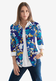Fine Gauge Cardigan, TURQUOISE SHADOW FLORAL
