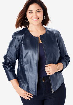Collarless Leather Jacket, NAVY