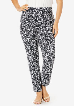 Tummy Control Twill Ankle Pant, BLACK ETCHED FLORAL