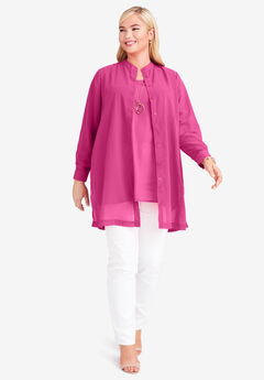 Georgette Button Front Tunic, BRIGHT BERRY